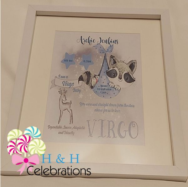 Virgo New Baby Star Sign Print
